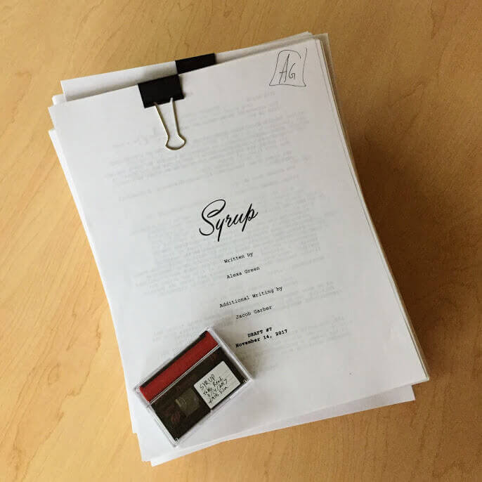 "Writer & Director Alexa Green working on feature film ""Syrup"" script rewrites"
