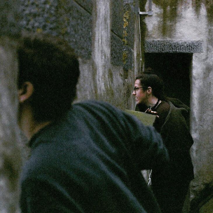 "1st AD Alexa Green on set of ""Hamlet in the Golden Vale"" in Kilfeacle, Dublin, Ireland"